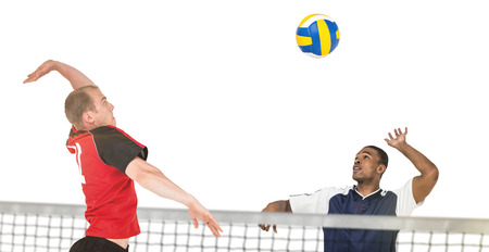 sportsman: Composite image of sportsman hitting volleyball