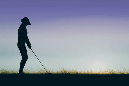 woman golf: Woman playing golf against sky and field Stock Photo