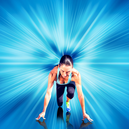 starting block: Composite image of sportswoman in the starting block against design background Stock Photo
