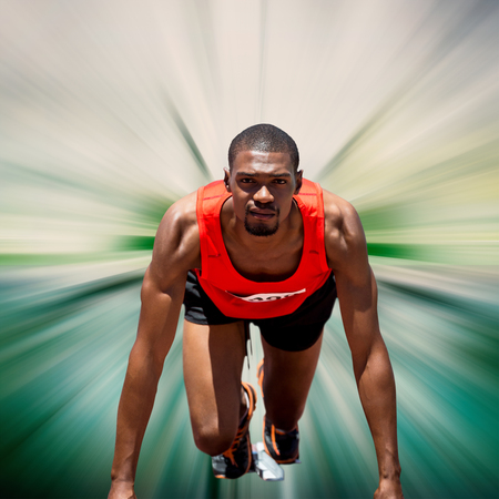 starting block: Composite image of athlete man in the starting block against design background