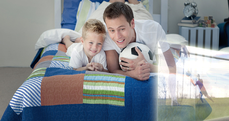 chirpy: Composite image of father and son are watching sport on television in the bedroom