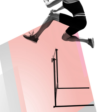 hurdles: Composite image of woman practicing hurdles against colored background