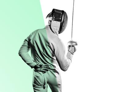 Man wearing fencing suit practicing with sword against different colors