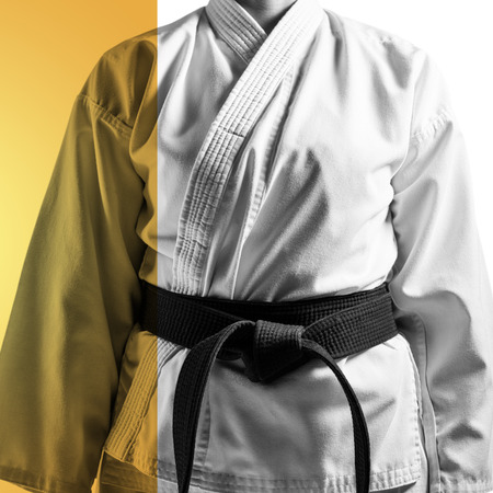 mid section: Mid section of karateka against yellow vignette Stock Photo