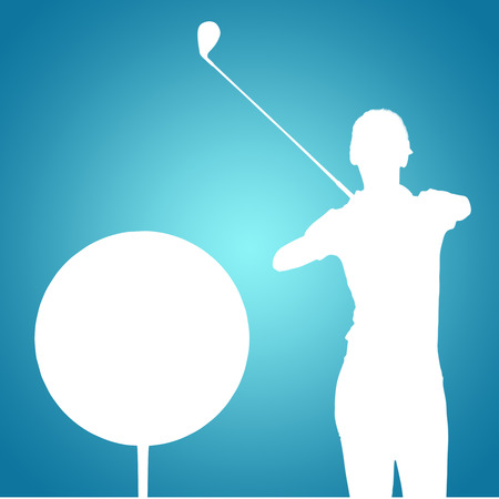 woman golf: Woman playing golf against blue vignette background Stock Photo