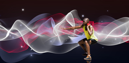 lanzamiento de bala: Deportista practicando el lanzamiento de peso en contra del diseño azul