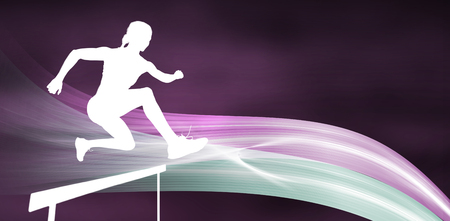 hurdle: Sporty woman jumping a hurdle against different black silhouette