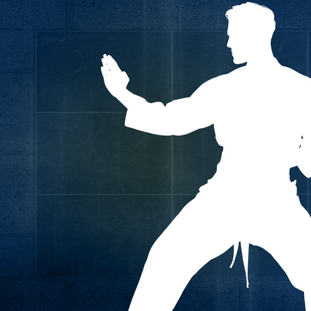 overhead view: Fighter performing karate stance against overhead view of playing field