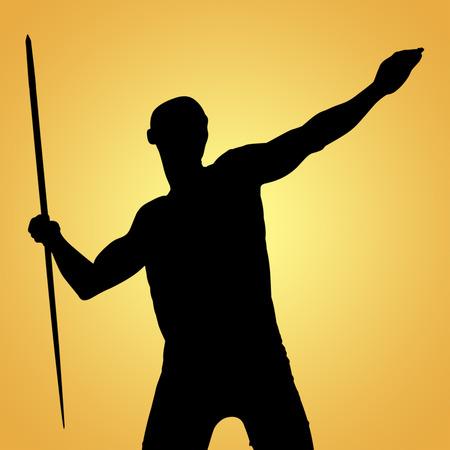 lanzamiento de jabalina: Deportista practicando el lanzamiento de jabalina contra la viñeta amarilla Foto de archivo