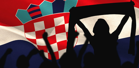 euphoria: Silhouettes of football supporters against digitally generated croatia national flag Stock Photo