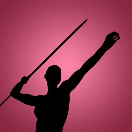 lanzamiento de jabalina: Bajo el ángulo de la deportista está practicando el lanzamiento de jabalina contra la viñeta roja