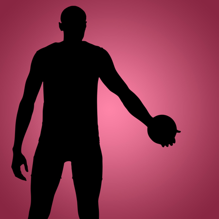discus: Rear view of sportsman holding a discus on a white background against red vignette