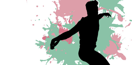 discus: Side view of man throwing discus against different black silhouette