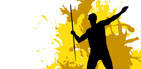 lanzamiento de jabalina: Sportsman practising the javelin throw against different black silhouette