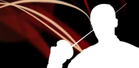 fencing sword: Close-up of swordsman holding fencing sword against different black silhouette Stock Photo
