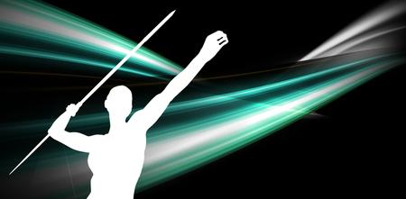 lanzamiento de jabalina: Low angle view of sportswoman is practising javelin throw  against different black silhouette Foto de archivo