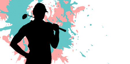 woman golf: Woman playing golf against different black silhouette