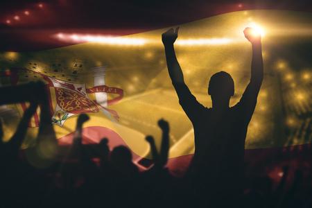 terrain de handball: Silhouettes de supporters de football contre terrain int�rieur de handball Banque d'images