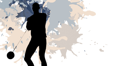 hammer throw: Sporty man playing at hammer throw against different black silhouette Stock Photo