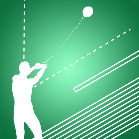 practising: Portrait of sportswoman practising hammer throw  against green vignette Stock Photo