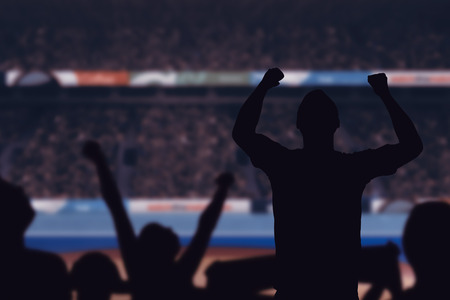 composite image: Silhouettes of football supporters against composite image of Stock Photo