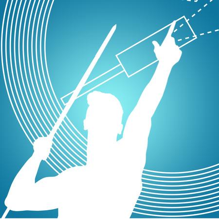 lanzamiento de jabalina: Bajo el �ngulo de jabalina deportista practicando tiro contra el fondo azul vi�eta Foto de archivo