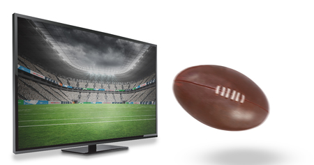 flat screen: american football against rugby stadium Stock Photo
