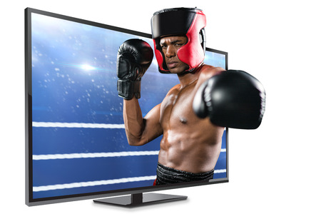 punched out: Boxer performing upright stance against composite image of boxing ring