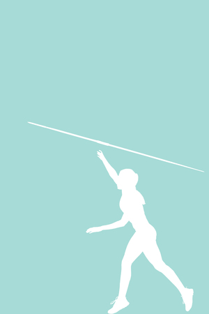 profile view: Profile view of sportswoman is practising javelin throw  against blue background