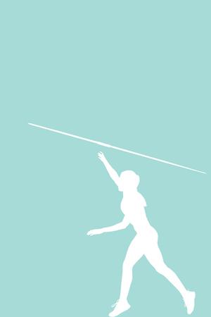 lanzamiento de jabalina: Vista de perfil de deportista está practicando el lanzamiento de jabalina contra el fondo azul