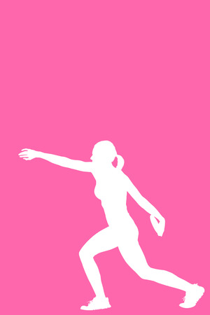 sportswoman: Profile view of sportswoman practising discus throw  against pink background