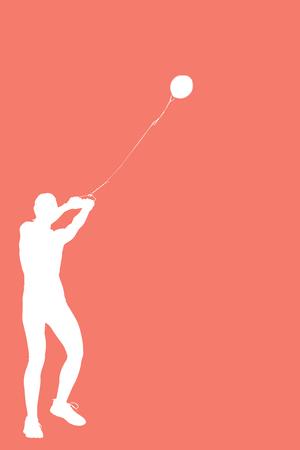 practising: Portrait of sportswoman practising hammer throw  against orange