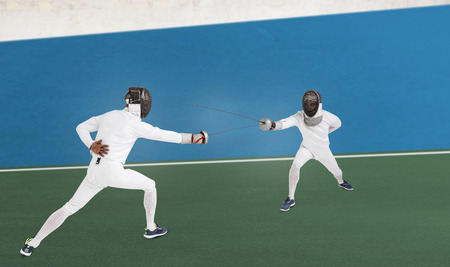 digitally generated image: Man wearing fencing suit practicing with sword against digitally generated image of bi colored background