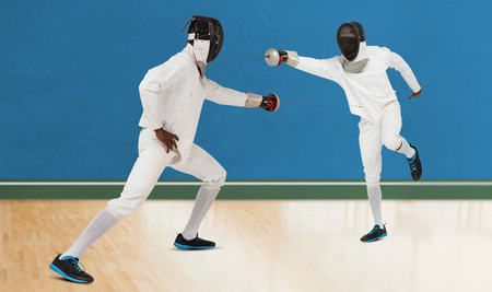 bi: Man wearing fencing suit practicing with sword against digitally generated image of bi colored background