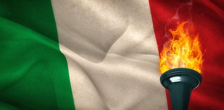 digitally: Fire against digitally generated italy national flag