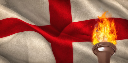 digitally: Fire against digitally generated england national flag Stock Photo