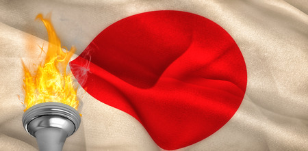 digitally: Fire against digitally generated japan national flag