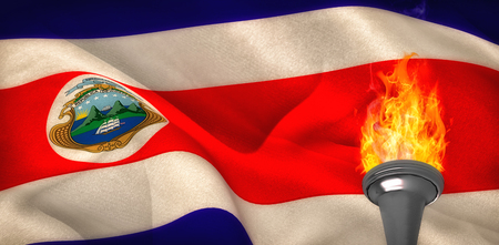Fire against costa rica flag waving Stock Photo