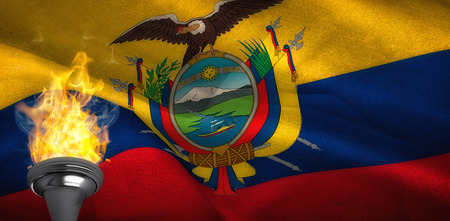 digitally: Fire against digitally generated ecuador national flag Stock Photo