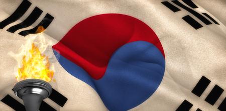 republic of korea: Fire against korea republic flag waving Stock Photo