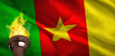 digitally generated: Fire against digitally generated cameroon national flag