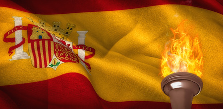 digitally: Fire against digitally generated spain national flag