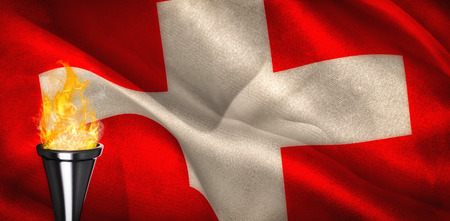 digitally generated: Fire against digitally generated swiss national flag