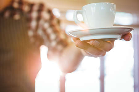 handing over: Waiter handing over a coffee in a restaurant LANG_EVOIMAGES