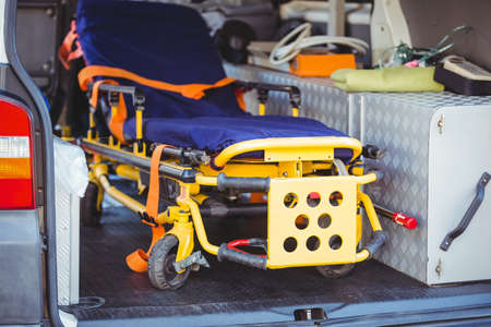 no rush: Close-up of a stretcher in an ambulance car