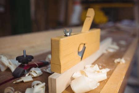 wood planer: Close-up of wood planer in workshop