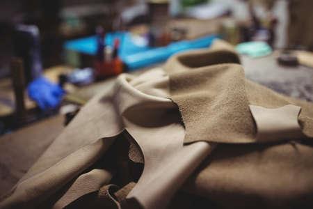 cobbler: Raw material of a cobbler in a workshop