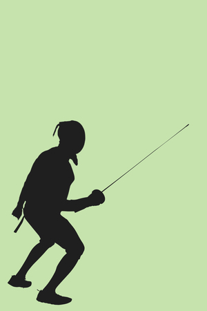 fencing sword: Man wearing fencing suit practicing with sword against green background Stock Photo
