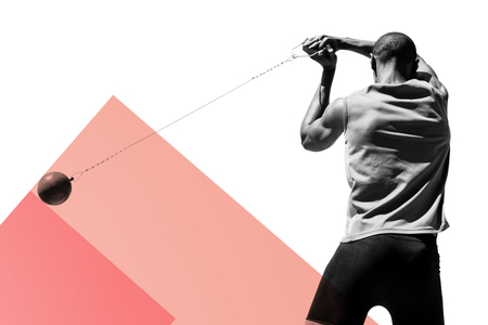 hammer throw: Rear view of sportsman practising hammer throw against colored background