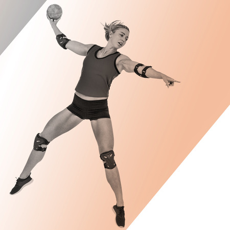 female elbow: Female athlete with elbow pad throwing handball against colored background Stock Photo